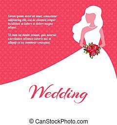 scheda, matrimonio, o, sagoma, invito