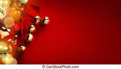 scheda natale, background;, decorazione albero natale, su, sfondo rosso