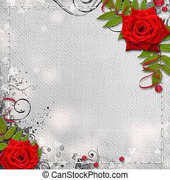 scheda, per, congratulazione, o, invito, con, cuori, e, rose rosse