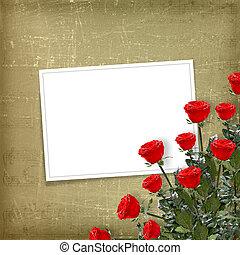 scheda, per, congratulazione, o, invito, con, rose rosse
