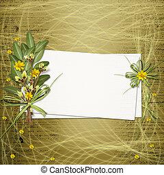 scheda, per, invito, o, congratulazione, con, mazzo fiori,...