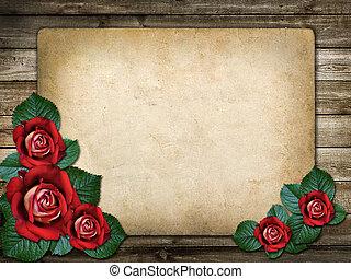 scheda, per, invito, o, congratulazione, con, rose rosse