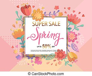 scheda, per, super, vendita, in, primavera, con, lettering.