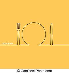 scheda, pubblicità, silhouette, cucchiaio, coltello, forchetta
