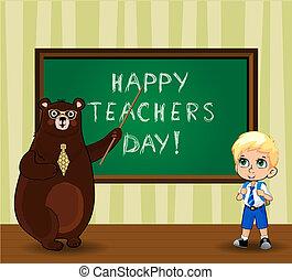 scheda, ragazzo, augurio, orso, cartone animato, insegnanti, studente, felice, insegnante, giorno, classroom.