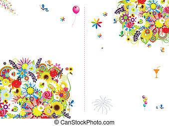 scheda regalo, testo, cornice, coperchio, posto, floreale, ...