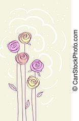 scheda, rosa, vettore, fiore, fondo