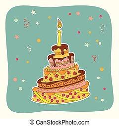 scheda, scarabocchiare, colorito, torta, compleanno