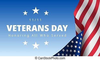 scheda, servito, onorare, tutto, novembre, giorno veterani, 11th., augurio