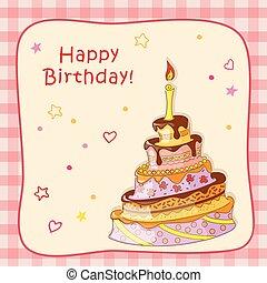 scheda, torta, scarabocchiare, cornice, candela, compleanno