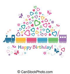 scheda, treno, augurio, compleanno, felice