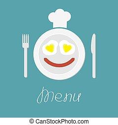 scheda, uova, salsiccia, coltello, piastra, cuore, cappello, forchetta, chef, menu
