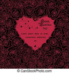 scheda valentine, con, rose
