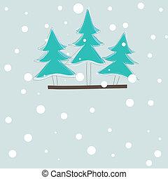 scheda, vettore, albero, natale, illustrazione