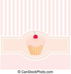 scheda, vettore, rosa, dolci