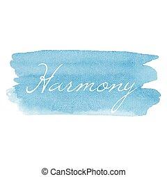scheda, vettore, testo scritto, acquarello, icona, mano, disegnato, calligrafia, armonia, fondo, illustrazione, tipografia, blu