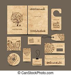 schede affari, collezione, con, caffè, concetto, disegno