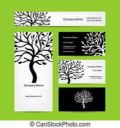 schede affari, disegno, con, astratto, albero, silhouette