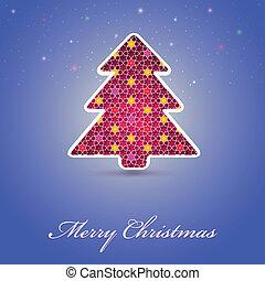 schede natale, con, festivo, albero