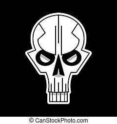 schedel, achtergrond., vector, black , logo, koel