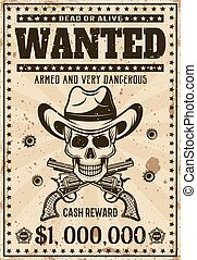 schedel, cowboy, ouderwetse , westelijk, poster, gevraagd