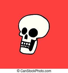 schedel, eenvoudig, illustratie, achtergrond, wit rood