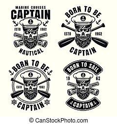 schedel, emblems, kapitein, nautisch, kapitein, hoedje