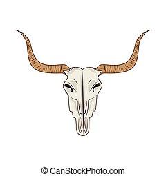 schedel, groot, vrijstaand, hoorn, stier, pictogram