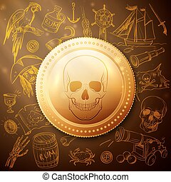 schedel, hand, getrokken, munt, zeerover, pictogram