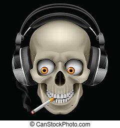 schedel, headphones, sigaret