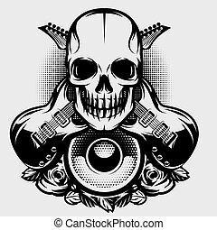 schedel, illustratie, thema, vector, muziek, gitaar, rots, spreker