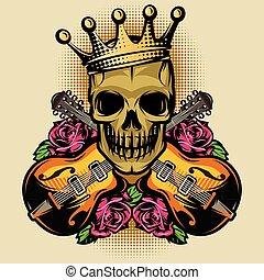schedel, kleur, roos, vector, gitaar, mal, poster