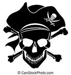 schedel, kruis, gebeente, kapitein, hoedje, zeerover