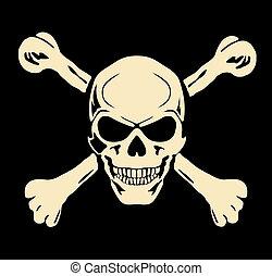 schedel, kwaad, meldingsbord, waarschuwend, vector., bones.