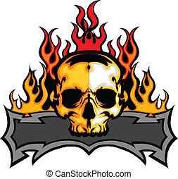 schedel, mal, met, vlammen, vector, ik