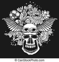 schedel, met, de, succulent, plants.