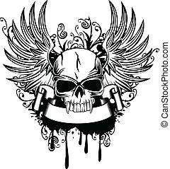 schedel, met, vleugels 1