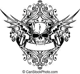 schedel, met, vleugels, 4
