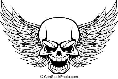 schedel, met, vleugels