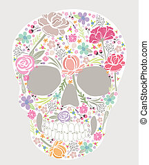 schedel, van, bloemen