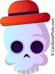 schedel, vector, achtergrond, illustartion, witte hoed, spotprent, rood