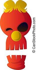 schedel, vector, achtergrond, illustartion, witte , spotprent, rood