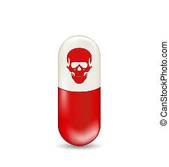 schedel, vrijstaand, capsule, achtergrond, wit rood