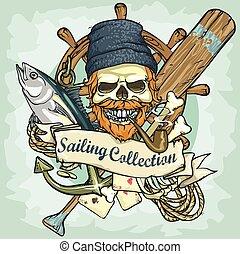 schedel, zeilend, -, verzameling, visser, logo, ontwerp