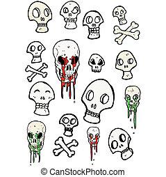 schedels, spotprent, verzameling