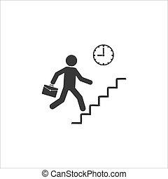schedule., éxito, vector, crecimiento, rendimiento, hombre de negocios, rates., subidas, icono, carrera, ilustración, ladder., achievements.