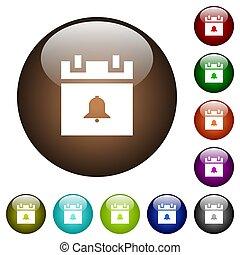 Schedule alarm color glass buttons