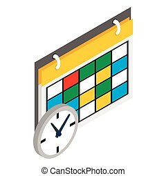 Schedule and clock icon, isometric 3d style