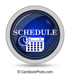 Schedule icon. Internet button on white background.