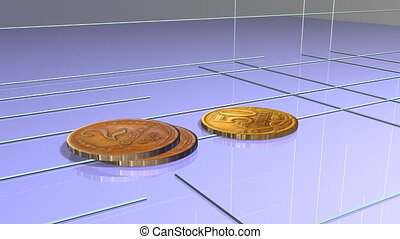 Schedule of financial growth. A stack of coins.